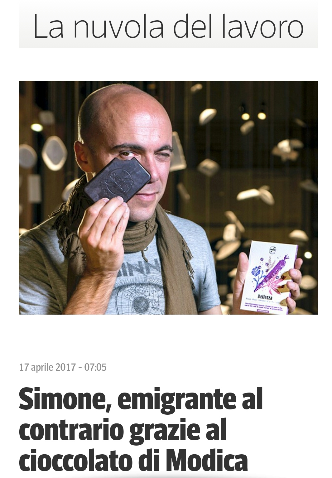 corriere.it - Simone emigrante al contrario