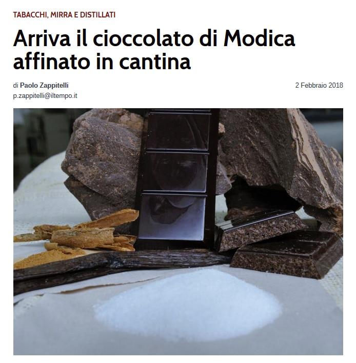 il cioccolato di Modica affinato in cantina