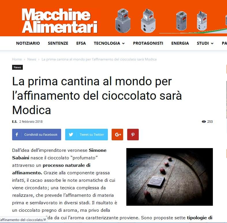 La prima cantana di affinamento del cioccolato - Modica